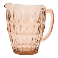 Jeanette Glass Co. 'Windsor' Geometric Pink Depression Glass Pitcher