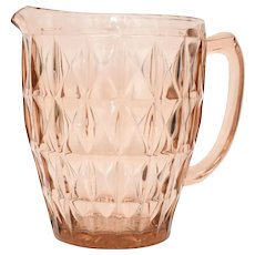 Jeanette Glass Co. 'Windsor' Geometric Pink Depression Glass Pitcher