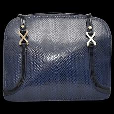 Designer Meyer's Blue Snakeskin Patent Leather & Gold Hardware Lady's Handbag