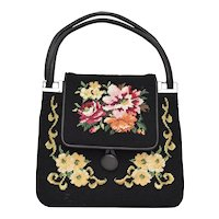 c1970s Red & Pink Cabbage Rose Floral Motif Needlepoint Black Faux Leather Double Strap Handbag Purse