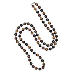 "Genuine 32"" Long Tiger Eye & Black Onyx Gemstone Sterling Silver Spacer Long Bead Necklace"
