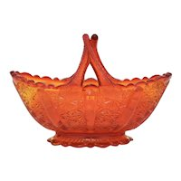 Fenton Orange Daisy Amberina Split Twig Handle Basket Art Glass Trinket / Candy Dish