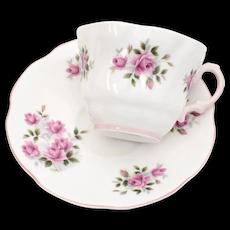 Rosina England Fine Bone China Pastel Pink Rose Flower Scalloped Rim Tea Cup & Saucer