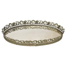 Large Hollywood Regency Gold Filigree & White Enamel Scrollwork Oval Vanity Tray / Wall Mirror