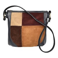 c1960s Spilene Designer Genuine Suede Color Block / Patchwork & Navy Blue Leather Shoulder Bag Purse