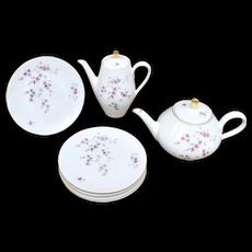 10-Pc Wunsiedel Bavaria Germany Pink Flower Pattern Porcelain Coffee Pot, Teapot & Dessert Plate Set