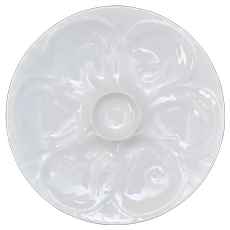 White Glazed Ceramic 6 Oyster Well Serving Plate Platter