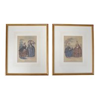 Set of 2 Early Victorian Style Ladies' Fashion 'Miroir de Modes' Color Art Prints in Original Wood Frames