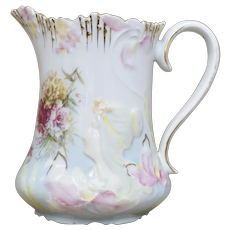 Early 1900s Manner of RS Prussia Art Nouveau Embossed Lady Cameo & Floral Motif Gold Gilt White Porcelain Pitcher