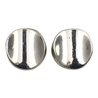 Mexico Sterling Silver 3D Circular Post Earrings
