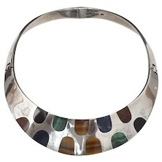 Taxco Sterling Silver Onyx, Malachite, Tiger's Eye, Sodalite and Mahogany Red Obsidian Stone Choker Necklace