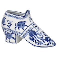 Formalities by Baum Bros Blue & White Porcelain Decorative Victorian Style Shoe