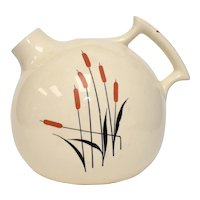 1930s Universal Cambridge Cattail Motif Ceramic Ball Pitcher w/ Handle