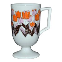 c1960s Orange & Pink Tulip Flower White Fine China Pedestal Tea or Coffee Cup / Mug