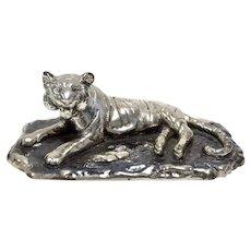 Signed Artistica Plata .999 Fine Silver Plated Tiger Figural Statue / Sculpture - Mexico