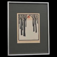 "John Sovjani Artist Signed ""Winter Scene"" Limited Edition 9/100 Woodblock Lithograph Art Print"