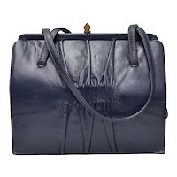 c1960s Signed Mam'Selle Designer Navy Blue Ruched Leather Double Strap Handbag Purse
