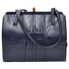 c1960s Signed Mam'Selle Designer Navy Blue Ruched Leather Double Strap Handbag Purse