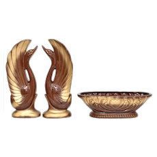 c1940s Pair of Hollywood Regency Glazed Brown Ceramic w/ Gold Accents Figural Swan Sculptures & Matching Oblong Planter