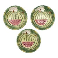 Set of 3 Takahashi San Francisco Watermelon Garden Hand Painted Textured Glazed Ceramic Bowls