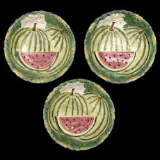 Set of 3 Takahashi San Francisco Watermelon Garden Hand Painted Textured Glazed Ceramic Bowls