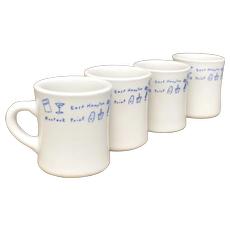 Set of 4 New York Travel Theme Restaurant Ware Diner Style White Heavy Ceramic Coffee Mugs