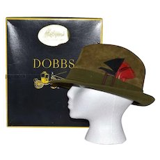 c1970s Dobbs Designer Olive Green Suede Leather w/ Feather Accent Men's Fedora Hat ~ Includes Original Box