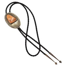 Signed KJB Navajo Kee Joe Benally Sterling Silver Large Spiny Oyster Black Leather Bolo Tie w/ Ball Tips