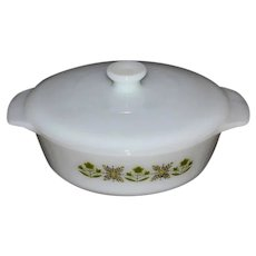 c1960s Anchor Hocking Fire King Meadow Green White Milk Glass Casserole Cookware w/ Original Lid