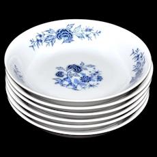 Set of 6 Lennold 'Blue Meissen' Pattern 1478 Flower & Leaf Motif Fruit / Dessert / Sauce White Fine China Bowls