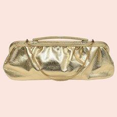 c1950s Metallic Gold Lame Fabric w/ Arched Handle Clutch Purse - Optional Chain Strap Handbag