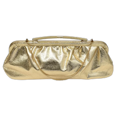 c1950s Metallic Gold Lame Fabric w/ Arched Handle Clutch Purse - Optional Chain Strap Handbag
