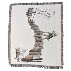 "Edward Gorey 'Books, Cats, Life is Sweet!' Woven Cotton Throw Blanket - 60 "" x 50 """