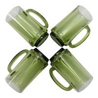 Set of 4 Avocado Green Glass Beer Stein Mugs