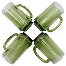Set of 4 Avocado Green Glass Beer Stein Mugs