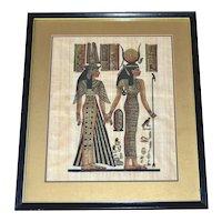 Egyptian Goddess Isis & Queen Nefertari 19x16 Original Papyrus Art Painting in Black Wood Frame