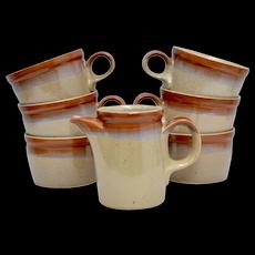 13-Pc Mikasa Potters Art Studio Ben Seibel Ceramic Country Cabin 6 Cups, 6 Saucers & Creamer