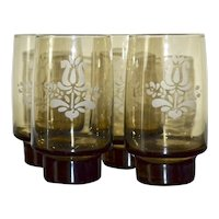 Set of 4 Pfaltzgraff Village Smoky Brown Stackable Tumbler Glasses