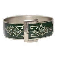 Victorian Chased Floral Green Enamel Silvertone Buckle Bangle Bracelet