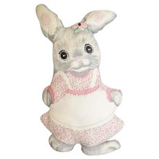 c1960s Country Cottage Girl Bunny Rabbit w/ Flower in Pink Dress Hand-Sewn Figural Plush Folk Art Throw Pillow