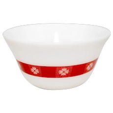 "Federal Glass Milk Glass Cherry Red Band & White Flower Motif 9"" Large Mixing Bowl"