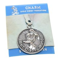 Sterling Silver Walt Disney Productions WDW Donald Duck Walt Disney World Round Charm on Original Velvet Card