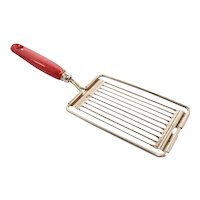 c1940s Ekco USA Metal Tomato, Cheese, Egg Slicer w/ Red Painted Wood Handle