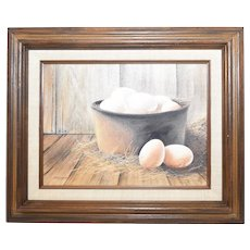 c1977 Harry Jarman Artist Signed Original Oil on Canvas 'Farm Fresh Eggs' Rustic Earth Tones Still Life Painting in Wood Frame