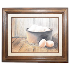 c1977 Harry Jarman Artist Signed Original Oil on Canvas 'Farm Fresh Eggs' Rustic Earth Tones Still Life Painting in Wood Frame
