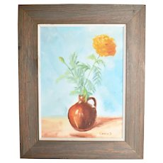 c1975 Naive Folk Art Still Life Yellow Flower in Jug Vase Original on Board Painting in Rustic Wood Frame