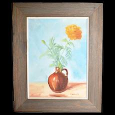 c1975 Naive Folk Art Still Life Yellow Flower in Jug Vase Original on Board Painting in Rustic Wood Frame