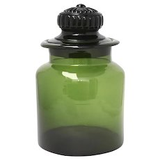"Large 10.5"" Forest Green Glass Apothecary or Candy Jar Canister w/ Original Ground Glass Lid"