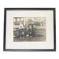 c1910 Girls' Mecklenberg County High School Basketball Team B&W 8x10 Framed Photograph