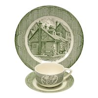 "c1950s 6-Pc Royal China ""The Old Curiosity Shop"" Green / White Dinner Plate, Tea Cup & Saucer Set"